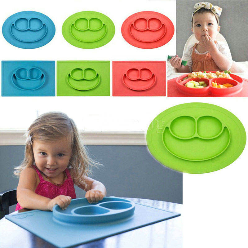 One Piece Silicone Mat Baby Kid Table Food Dish Tray