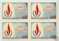 CHILE 1969 STAMP #752 MNH BLOCK OF FOUR HUMAN RIGHT