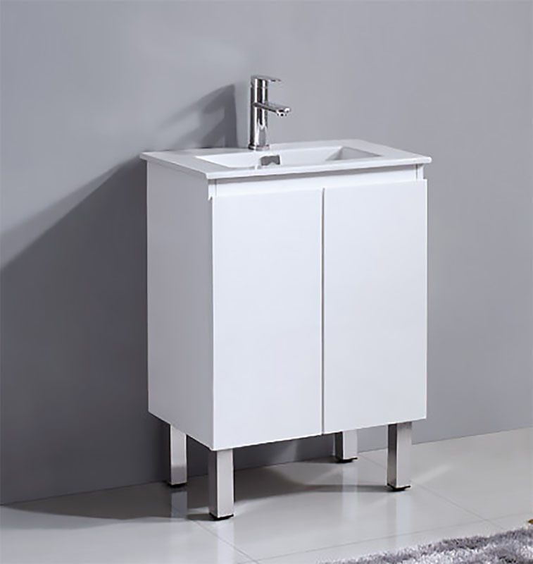 Bathroom ancona narrow vanity cabinet with ceramic basin for Narrow bathroom cabinet