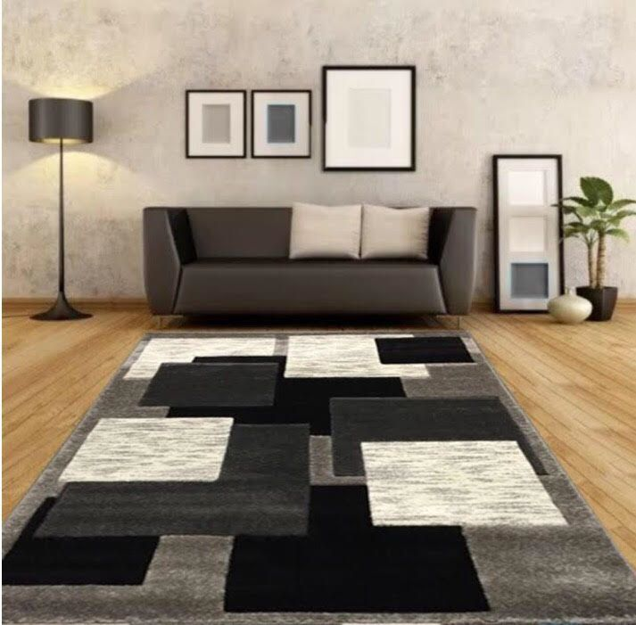 New Large Silver Black Modern Living Room Rugs Grey Hall Runners Small Rug Ma