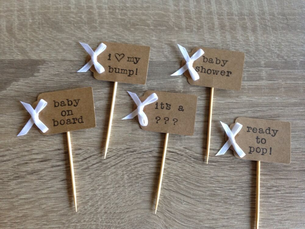 Cake Toppers For Baby Shower Uk : Personalised Baby Shower Cupcake Toppers Picks Flags Baby ...