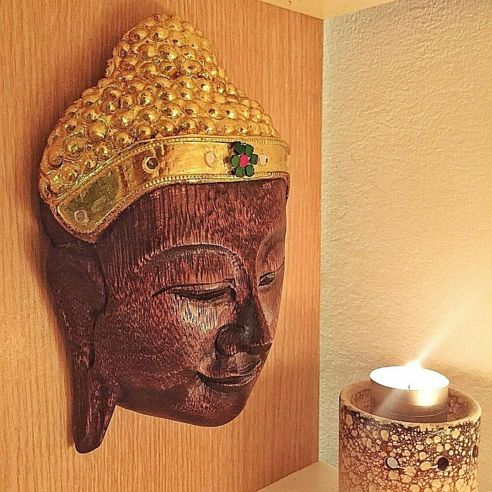 Vintage large wood carved buddha face mask wall sculpture Home decor sculptures