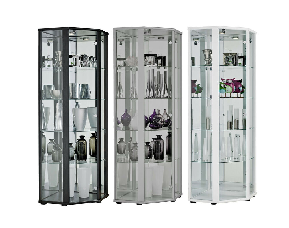 glasvitrine sammlervitrine eckvitrine vitrine led beleuchtet schloss spiegel esg ebay. Black Bedroom Furniture Sets. Home Design Ideas