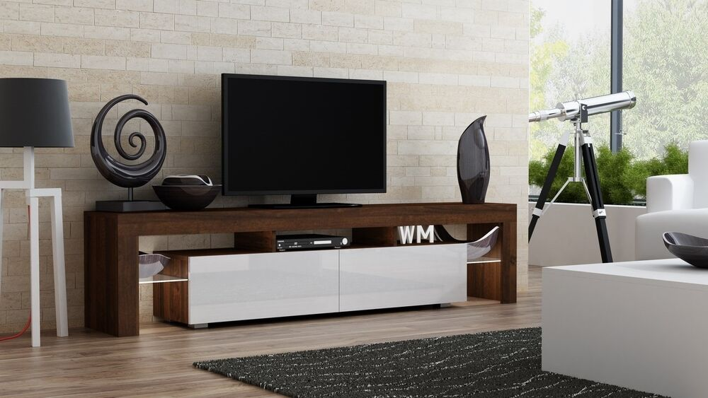 Contemporary tv furniture units Oak Details About Milano 200 Walnut Contemporary Tv Units High Gloss Modern Tv Stand Ebay Milano 200 Walnut Contemporary Tv Units High Gloss Modern Tv Stand