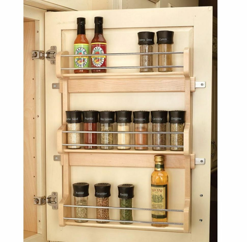 kitchen storage shelf wood shelf door mount cabinet spice holder rack storage 3177