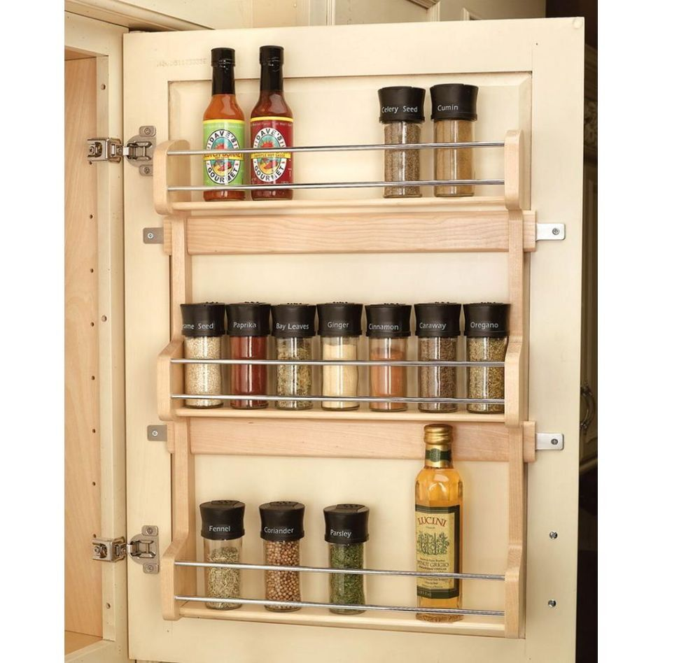Kitchen Storage Shelf: Wood Shelf Door Mount Cabinet Spice Holder Rack Storage