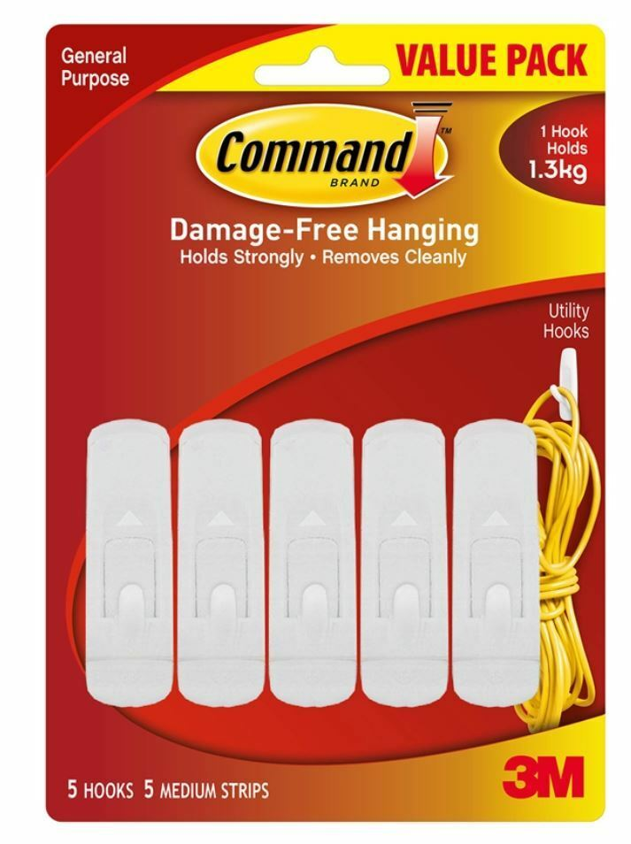3m Command Hooks 5 Pack Picture Hanging Extra Value Holds