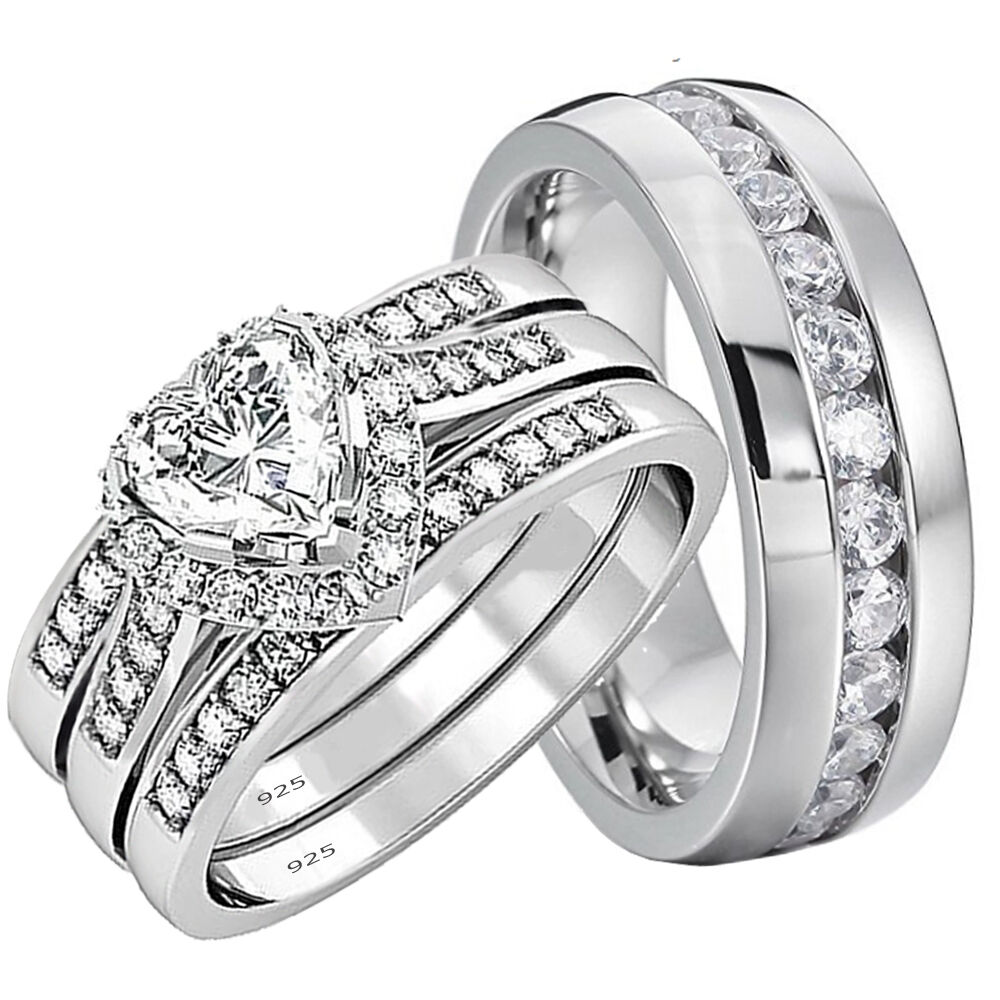wedding ring sets his and hers his and hers wedding rings 4 pcs engagement sterling 9996