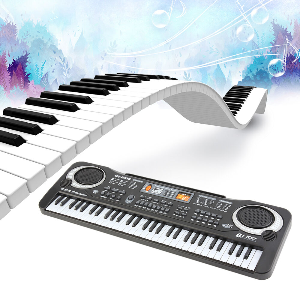 new 61 keys digital music electronic keyboard electric piano key board us stock ebay. Black Bedroom Furniture Sets. Home Design Ideas
