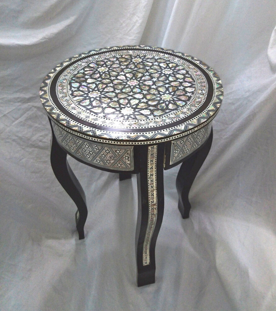 W86 Mother Of Pearl Moroccan Corner Wood Round Table Brown End Coffee Ebay