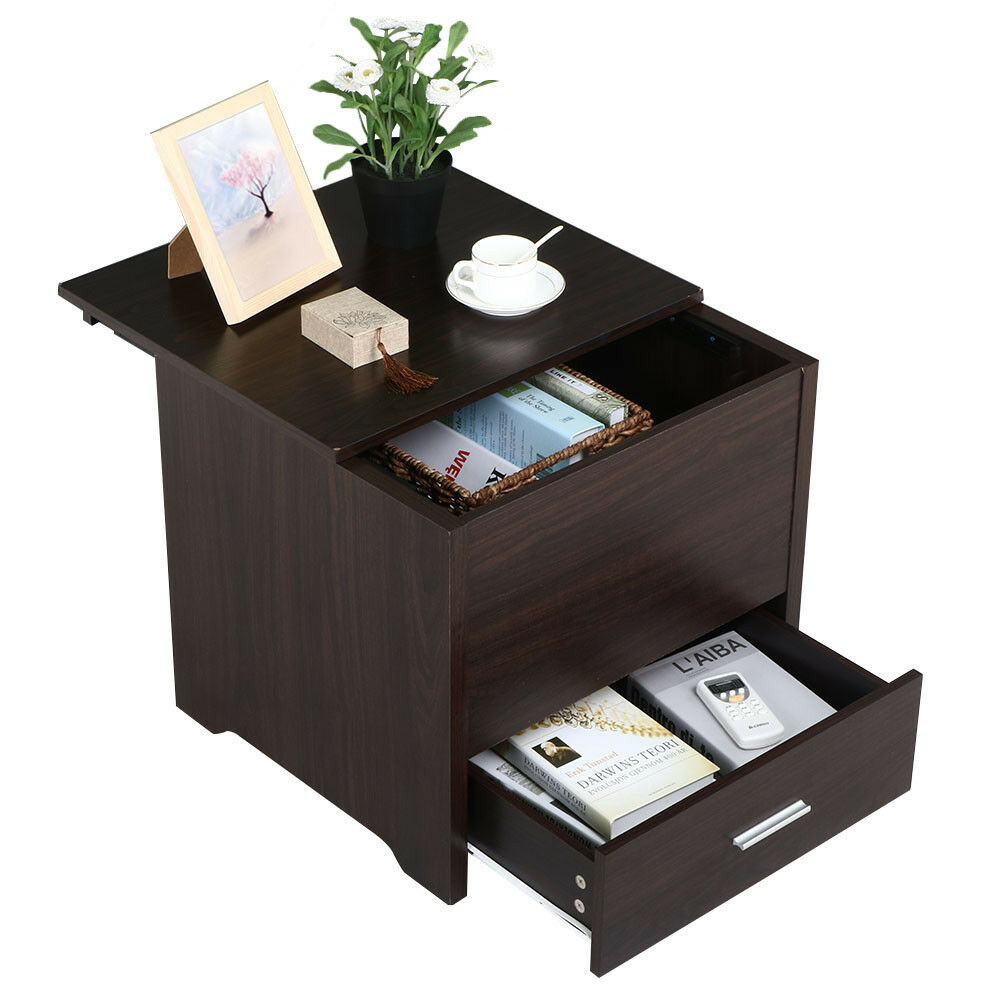 Storage End Tables For Living Room: Bedroom Nightstand End Table Bedside Storage Drawers