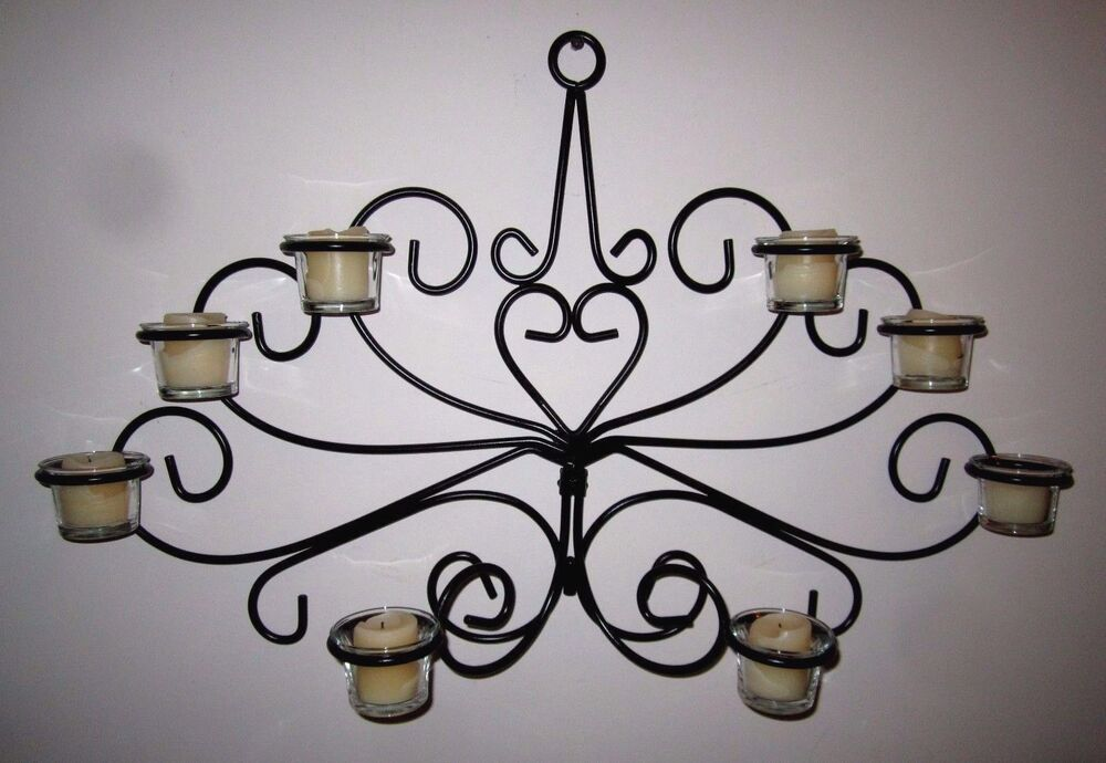 Adjustable Black Wrought Iron Wall Votive Candelabra Eight