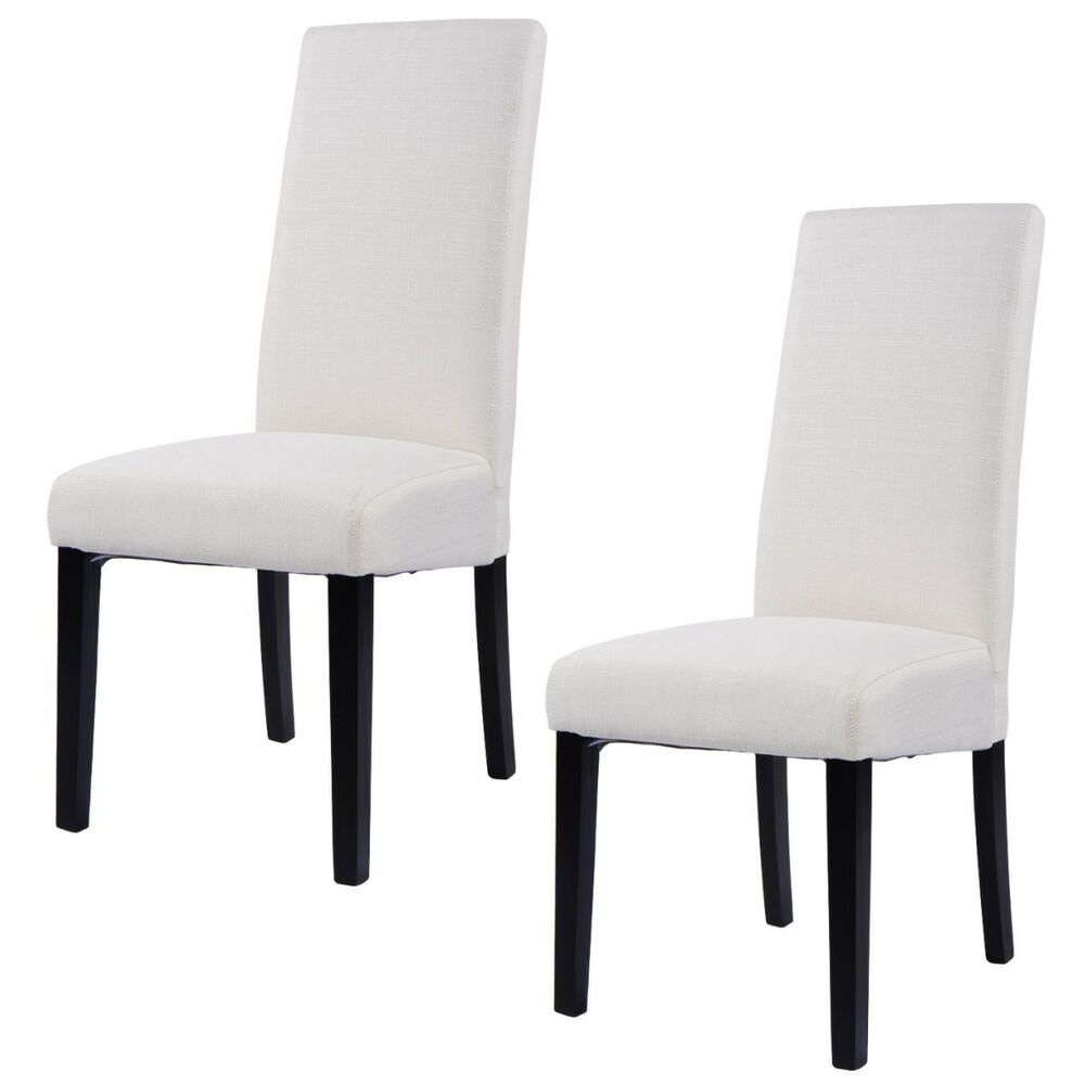 Fabric dining chair armless accent upholstered wood modern - Modern upholstered living room chairs ...