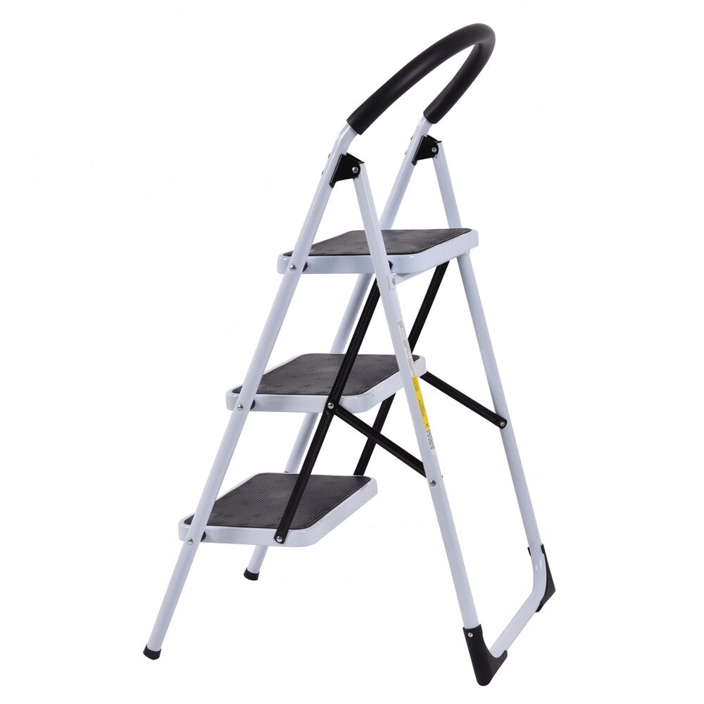 Heavy Duty 3 Step Ladder Folding Stool 330lbs Capacity