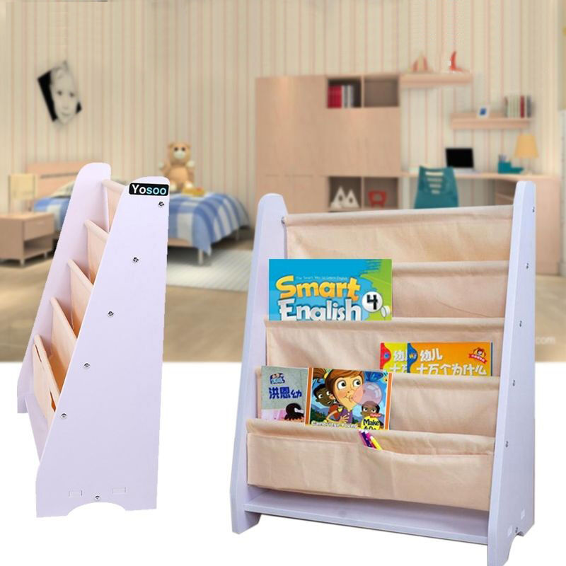 Kinder b cherregal kinderregal segeltuch standregal kinderzimmer regal wei gelb ebay - Kinderzimmer gelb ...