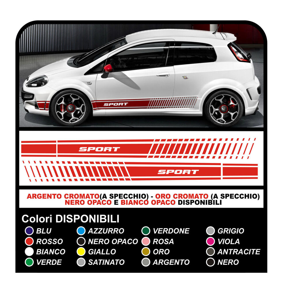 adesivi fiat punto sport fasce adesive fiat grande punto sport stickers delcals ebay. Black Bedroom Furniture Sets. Home Design Ideas