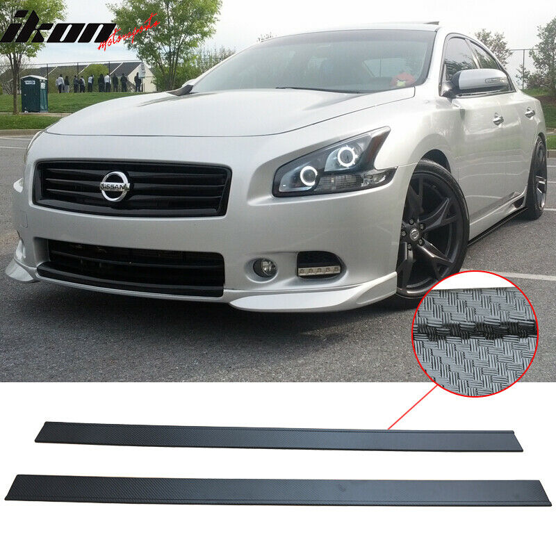 For 09 14 Nissan Maxima Carbon Fiber Texture Side Skirts