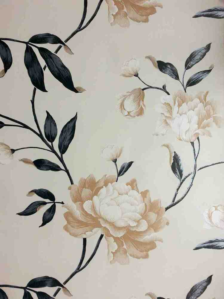 Designer black cream biscuit floral feature wallpaper for Black and cream wallpaper