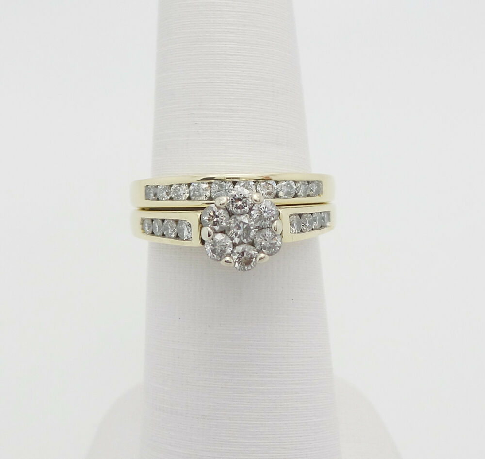 Zales 1ct diamond engagement wedding ring set 14k yellow for Ebay diamond wedding ring sets