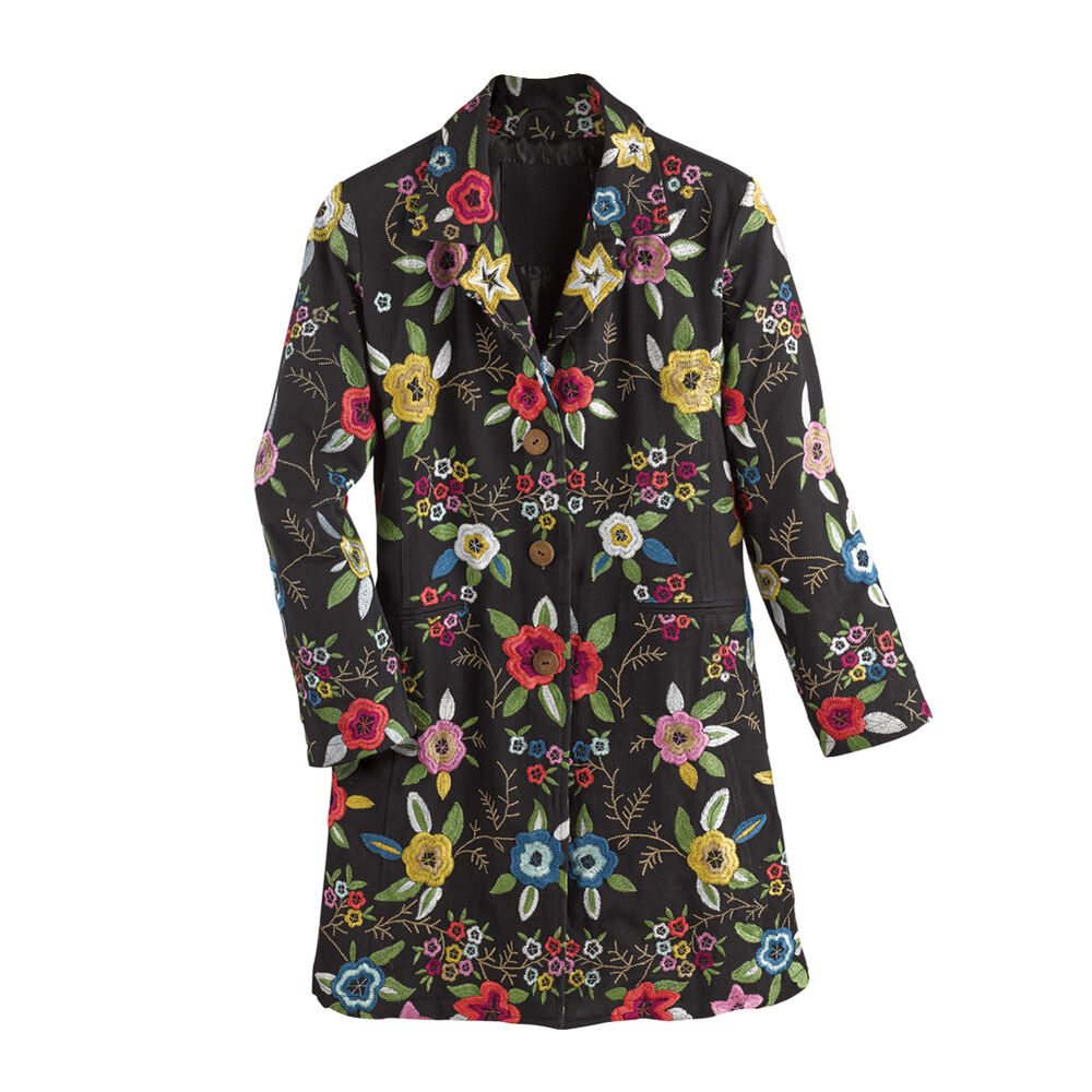 Fancy Floral Embroidered Black Button Down Jacket   EBay