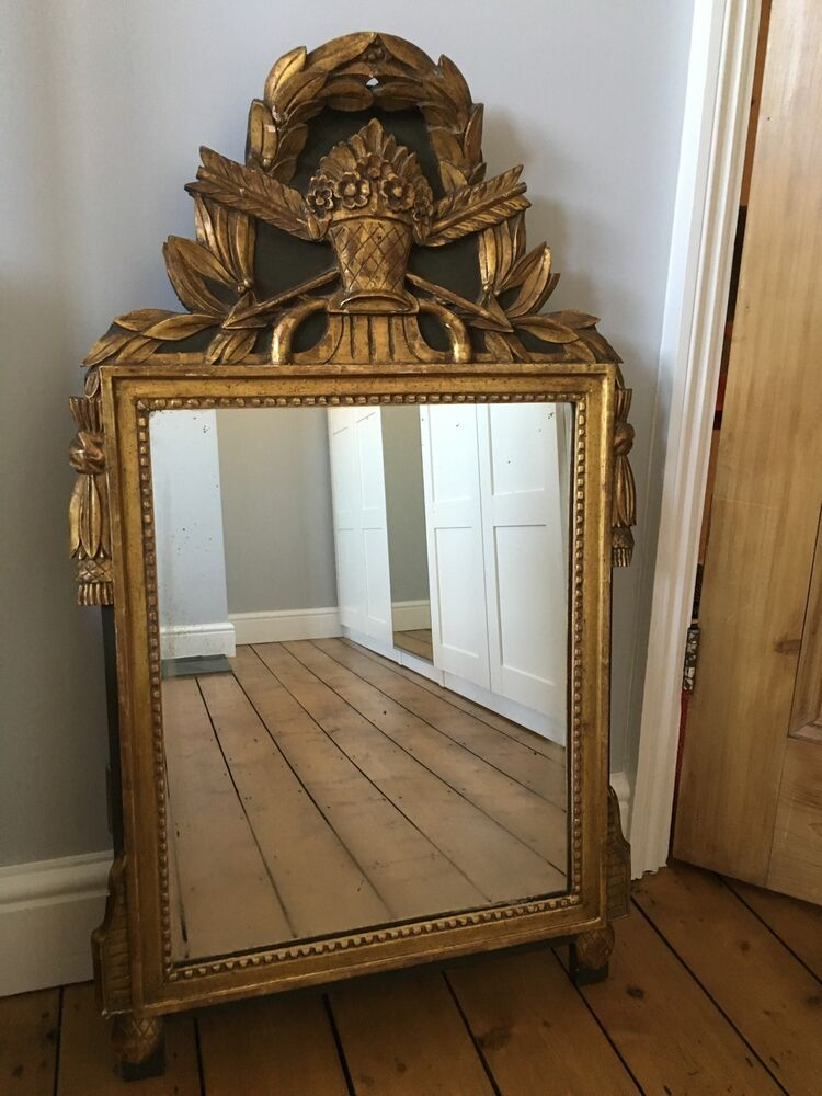 Antique french carved gilt wooden wall mirror ebay