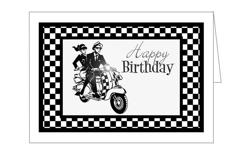 Scooter Birthday Card – Birthday Cards Black and White