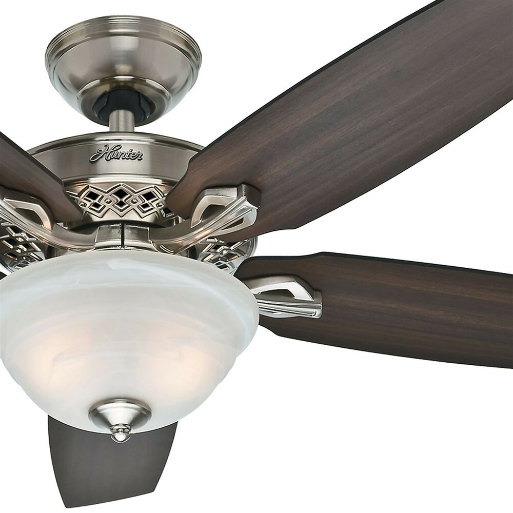 52 Hunter Fan Traditional Ceiling In Brushed Nickel With Light Kit