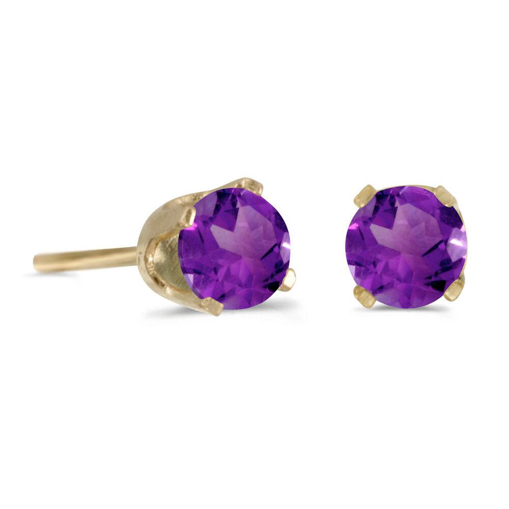 14k yellow gold 4 mm round amethyst stud earrings ebay. Black Bedroom Furniture Sets. Home Design Ideas