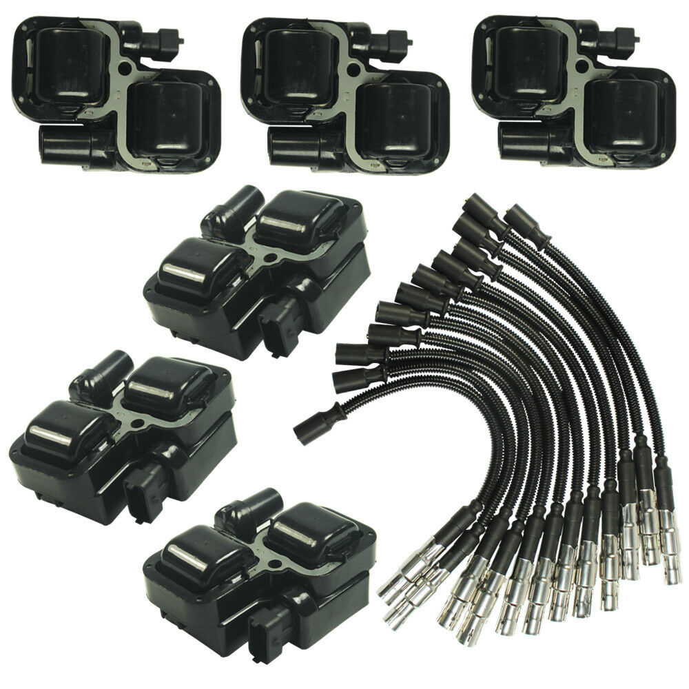 New ignition spark coils with plug wire sets for mercedes for Mercedes benz spark plug wires