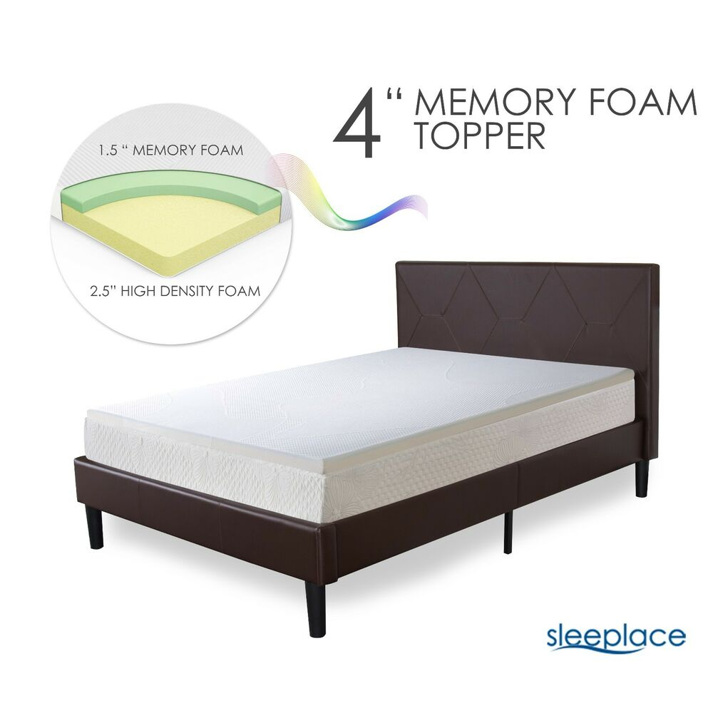 Sleeplace 4 Inch Premium Bed Topper 2 Layer Cool Gel Memory Foam Mattress Pad Ebay