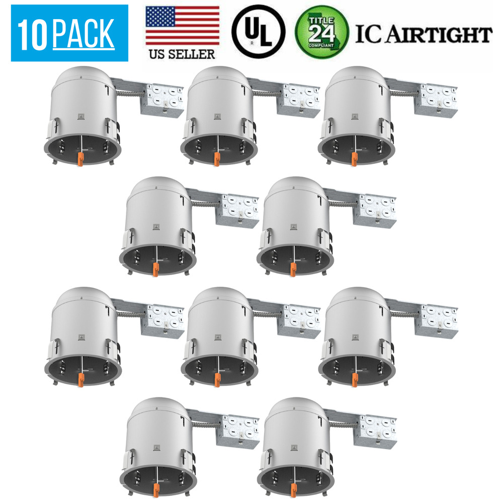 12 pack 6 inch remodel led recessed can lighting ic airtight housing aluminum. Black Bedroom Furniture Sets. Home Design Ideas