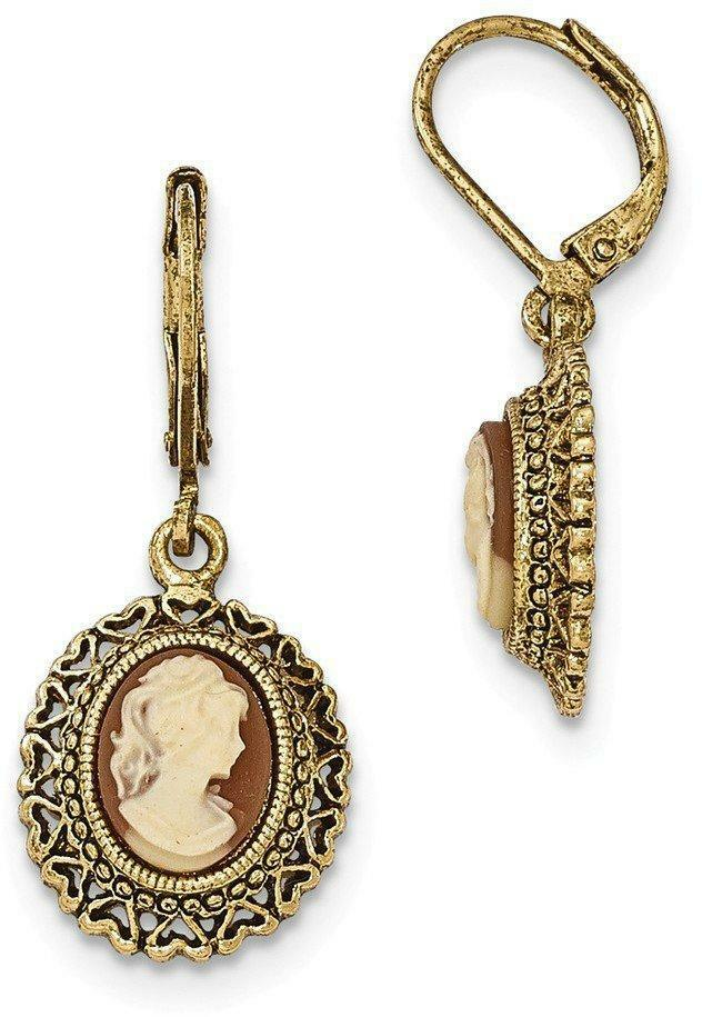 1928 Jewelry Gold Tone Acrylic Cameo Filigree Leverback