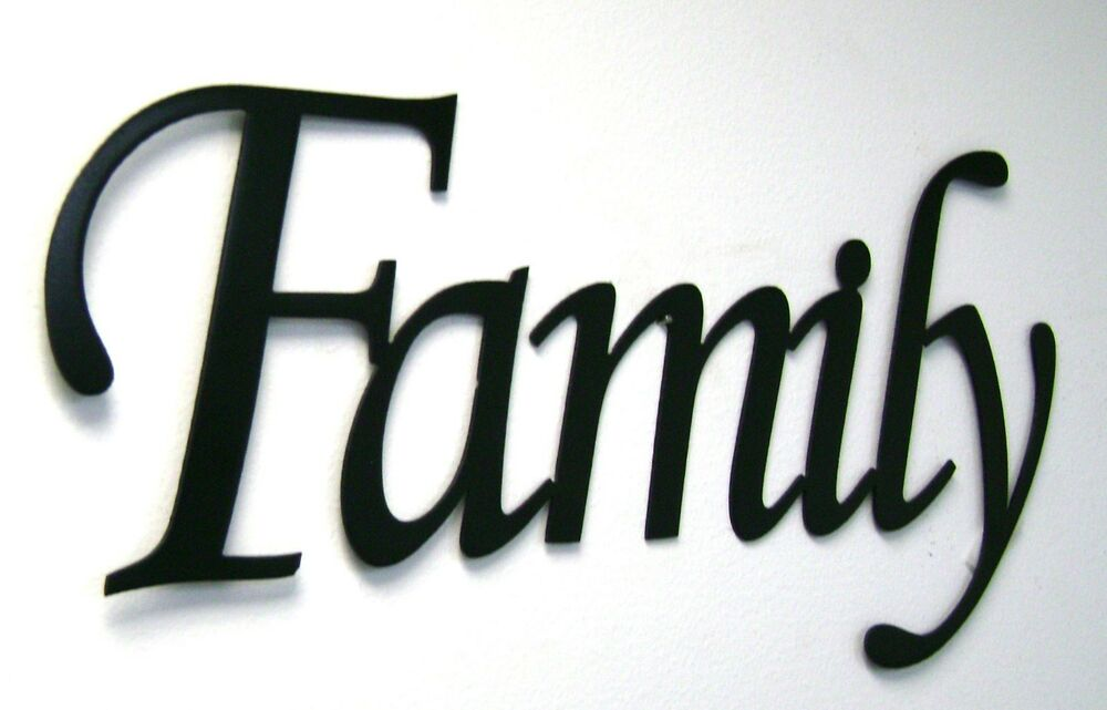 Family Metal Sign In Black- Metal Wall Art Home Decor
