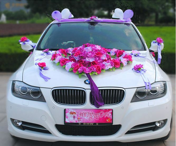 Flower festooned vehicle wedding car decoration kit korean for Automotive decoration