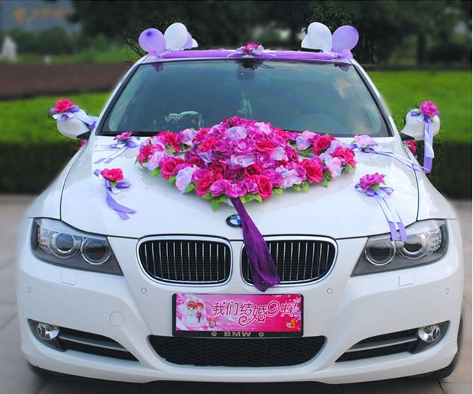 flower festooned vehicle wedding car decoration kit korean. Black Bedroom Furniture Sets. Home Design Ideas