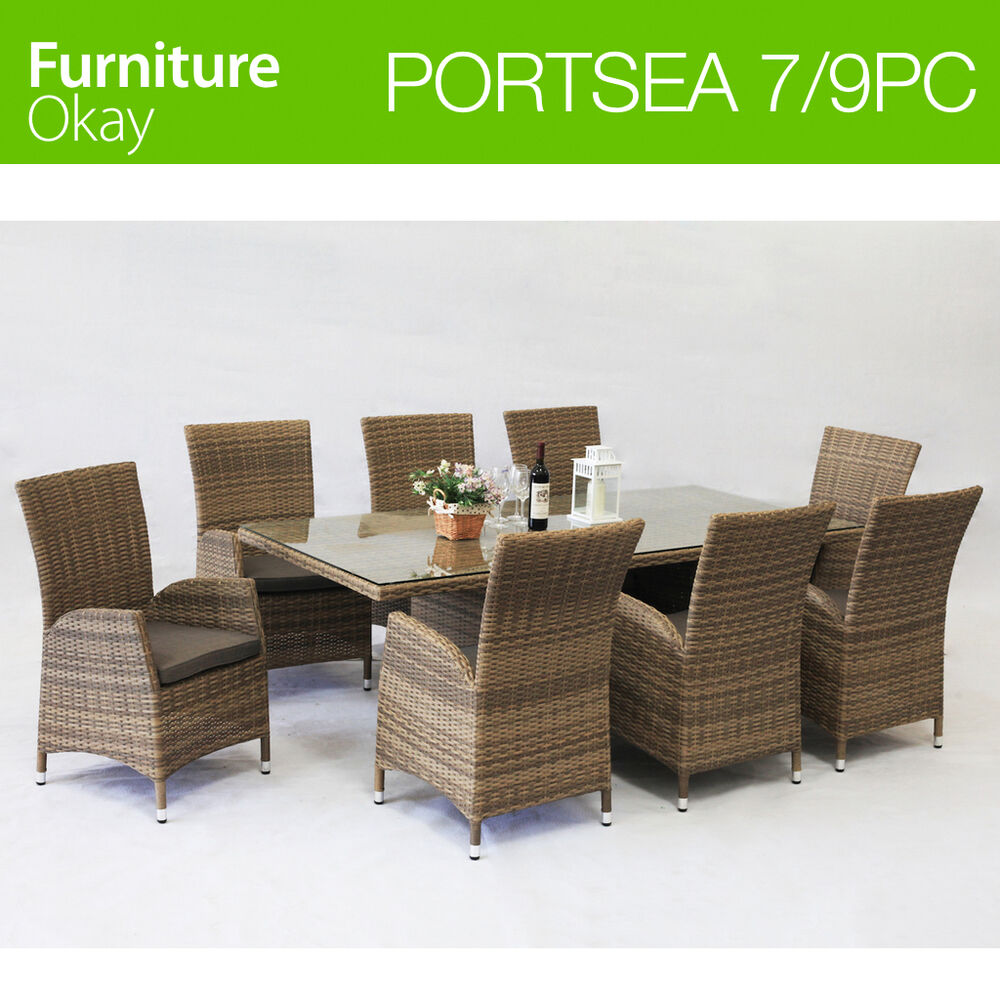 Outdoor Wicker Patio Table And Chairs: Portsea 7/9pc Wicker Rattan Outdoor Dining Patio Table