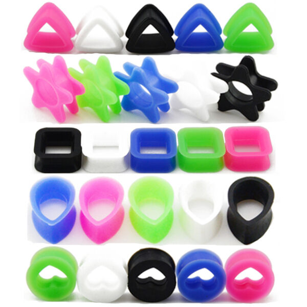 Pair silicone flesh ear tunnels plugs heart square