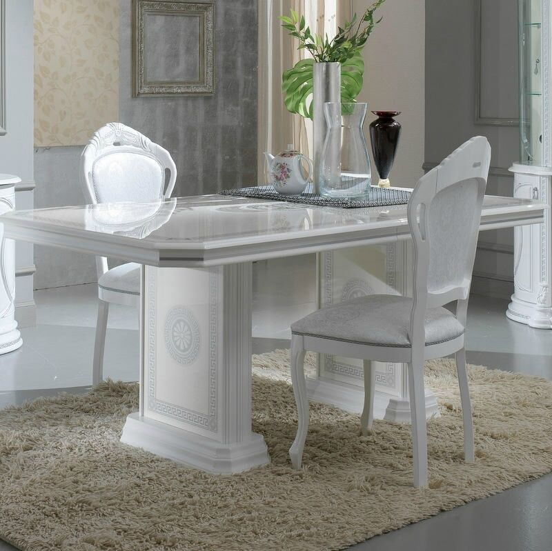 Versace Design White Amp Silver Italian High Gloss Dining