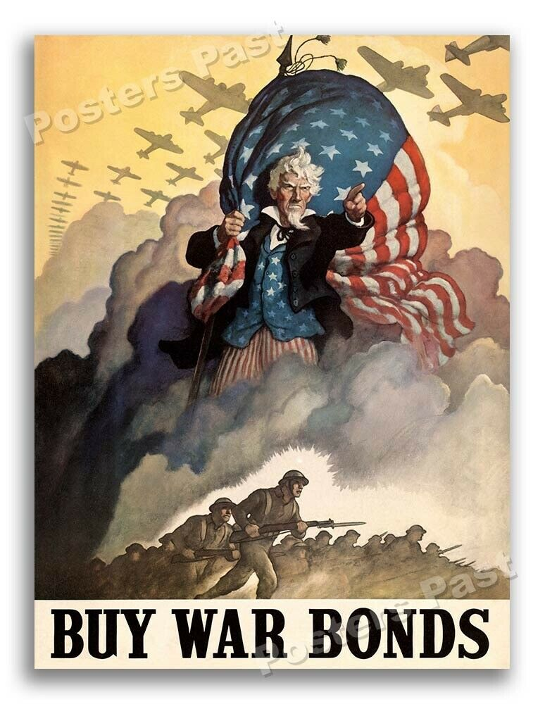 1940s buy war bonds uncle sam wwii historic war poster for Buy cheap posters online