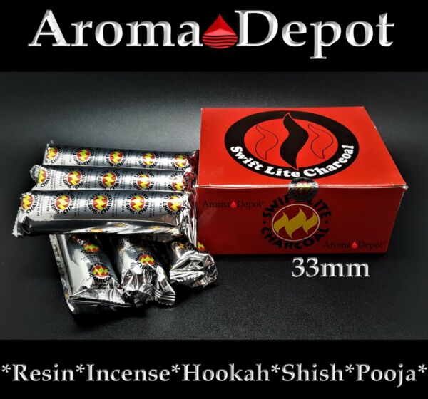 Swift Lite Large 33mm Charcoal Incense Hookah 1 2 3 4 5 6 100 Shisha Pooja Resin
