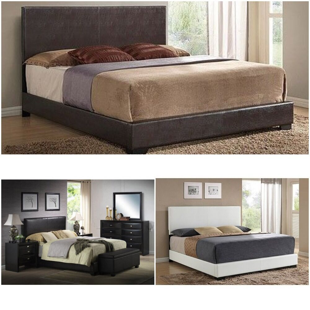 Upholstered bed frame w headboard footboard leather for King footboard