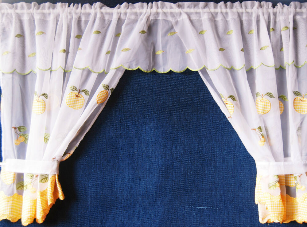 Winchester Net Curtain Frilled Window Set With Attached Valance Ebay