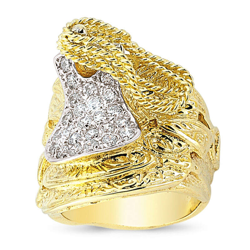 9CT GOLD SOLID CUBIC ZIRCONIA HORSE SADDLE CZ SHOT KNOT