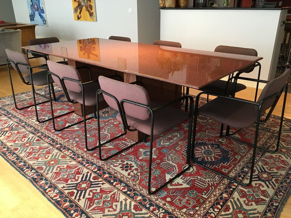 Custom made granite top dining room table with