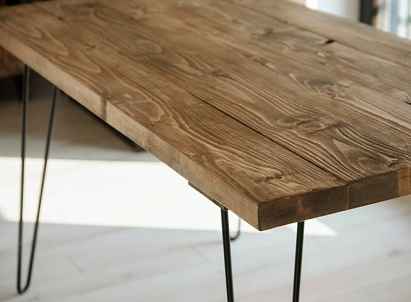 Kitchen Dining Patio Reclaimed Wood Table Hairpin Legs Industrial Vintage Ret