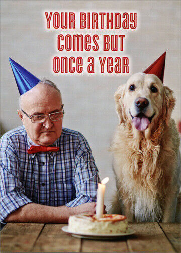 Details About Man And Dog With Birthday Cake Funny Masculine Card By Oatmeal Studios