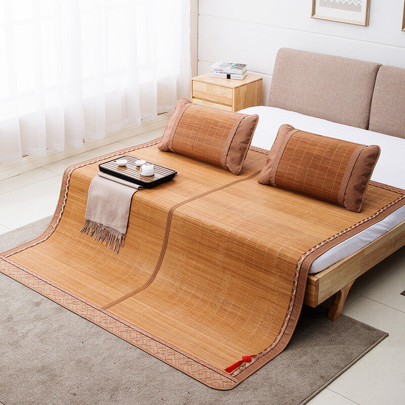 Bed Mat Bamboo Double Sided Mattress Cover Rattan Bed