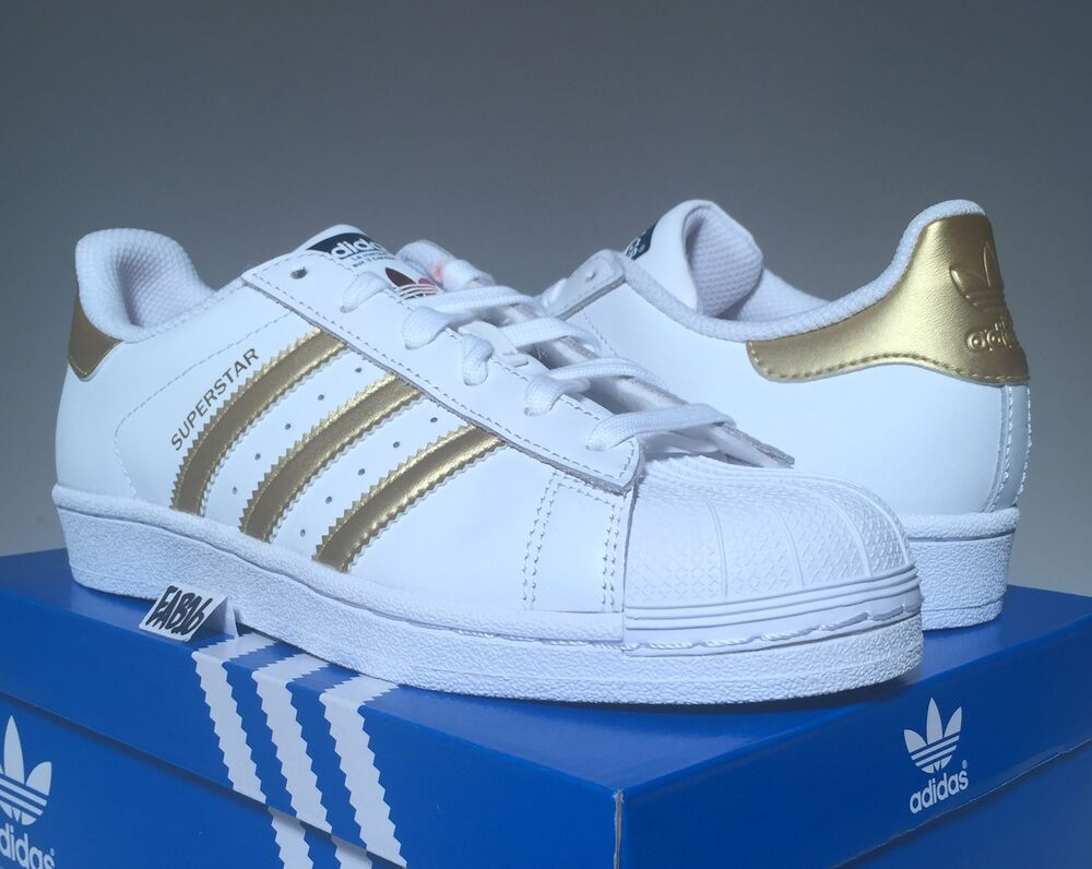 adidas superstar m metallic gold and white b39499 mens shell toe toes ebay. Black Bedroom Furniture Sets. Home Design Ideas