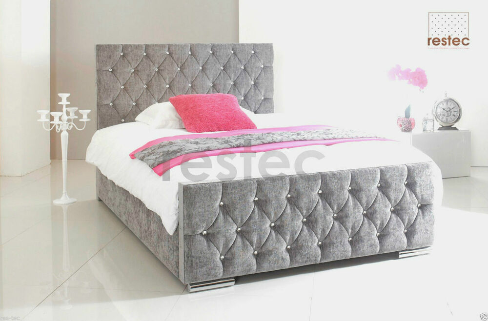 Bed frame chenille upholstered diamante all colours and for Diamond bed frame