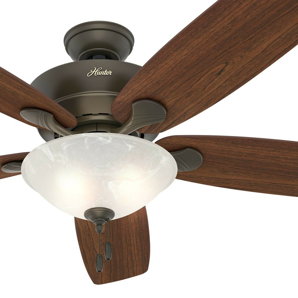 Hunter Capshaw 60 Premier Bronze Ceiling Fan With Light: Hunter Fan 60 In. New Bronze Ceiling Fan With Swirled